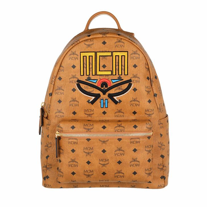 Handtasche, MCM, Stark Visetos BackpackTribal Laurel Cognac