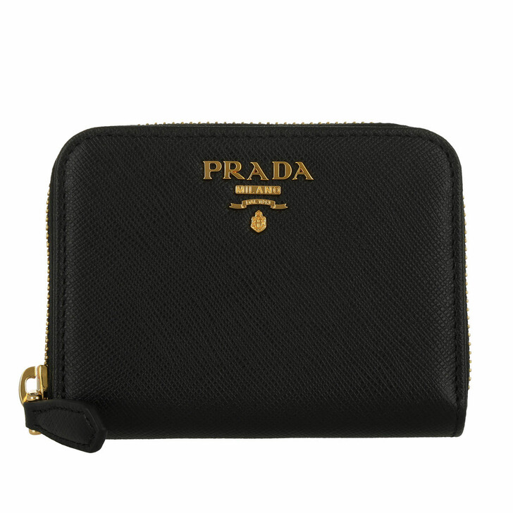 Geldbörse, Prada, Wallet Zip Around Small Saffianiano Logo Lettering Nero