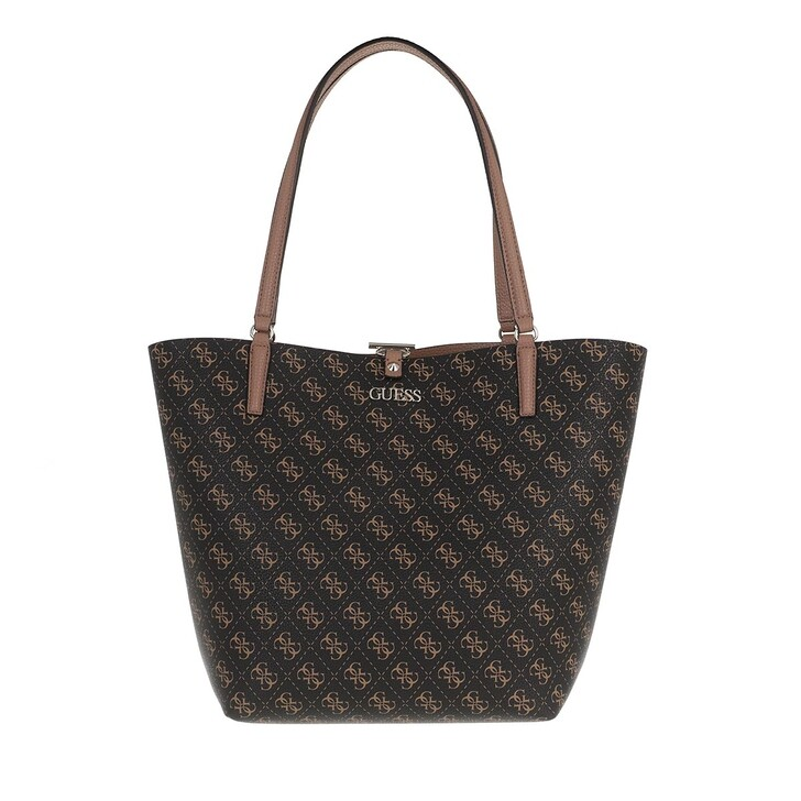 Handtasche, Guess, Alby Toggle Tote Brown Logo/Mocha