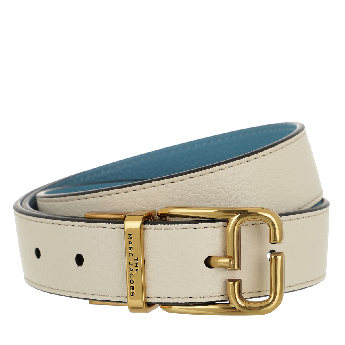 Gürtel, Marc Jacobs, The J Link Reversible Belt Leather Ivory/ Country Blue