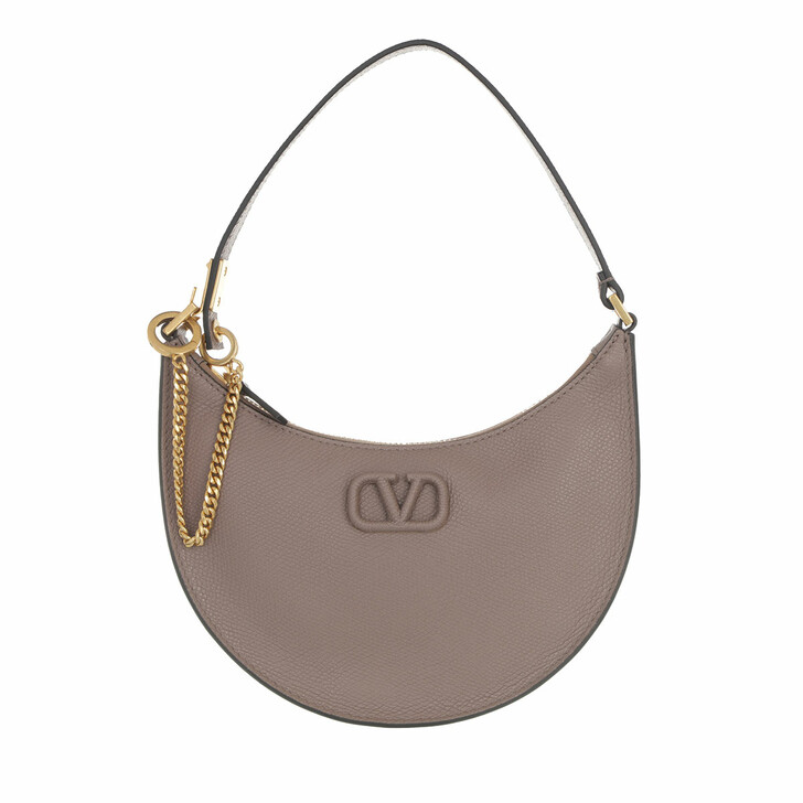 bags, Valentino Garavani, Mini V-Logo Signature Hobo Bag Leather Clay