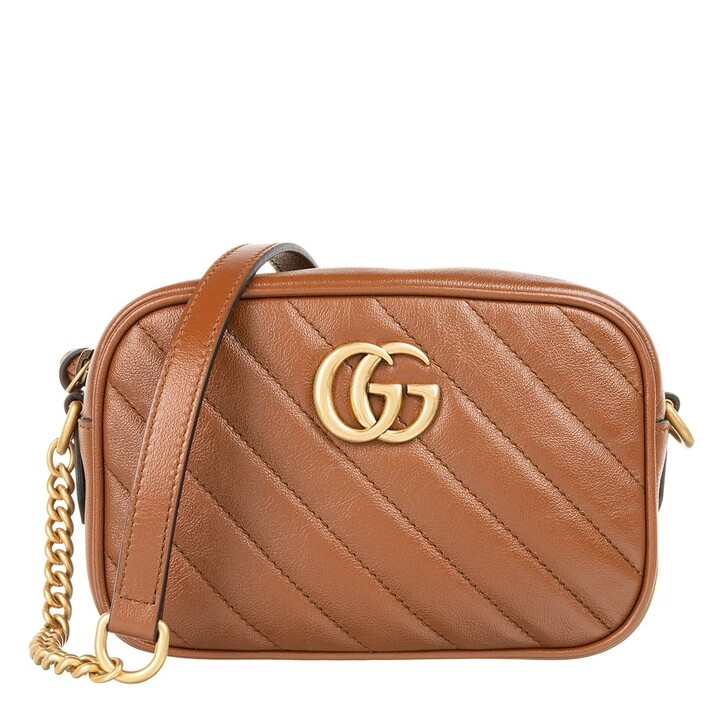 Handtasche, Gucci, GG Marmont Quilted Crossbody Bag Leather Brown