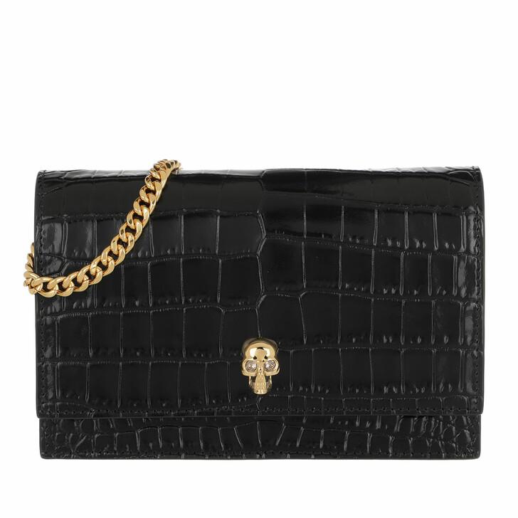 Handtasche, Alexander McQueen, Skull Mini Crossbody Bag Leather Black