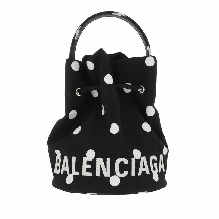 Handtasche, Balenciaga, Wheel XS Drawstring Bucket Bag Leather Black/White