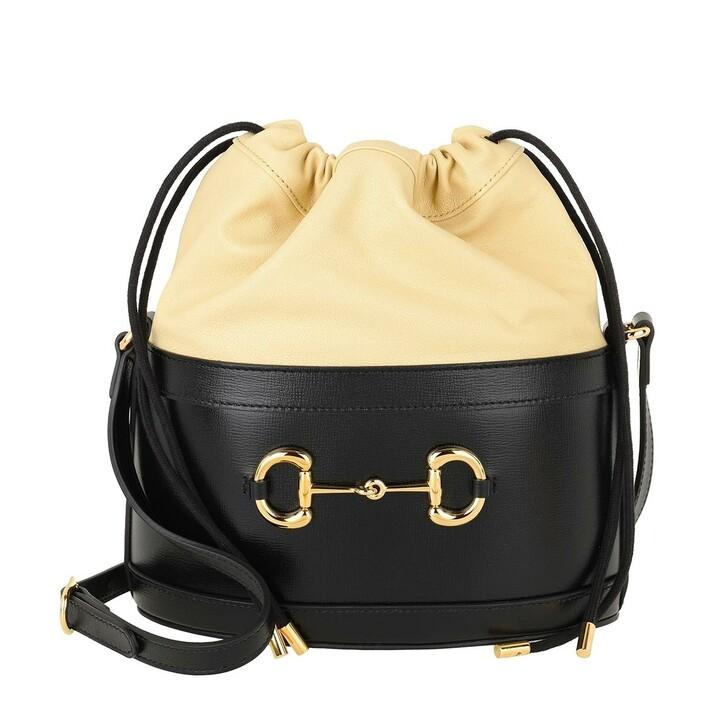 Handtasche, Gucci, Horsebit Bucket Bag Black/Butter