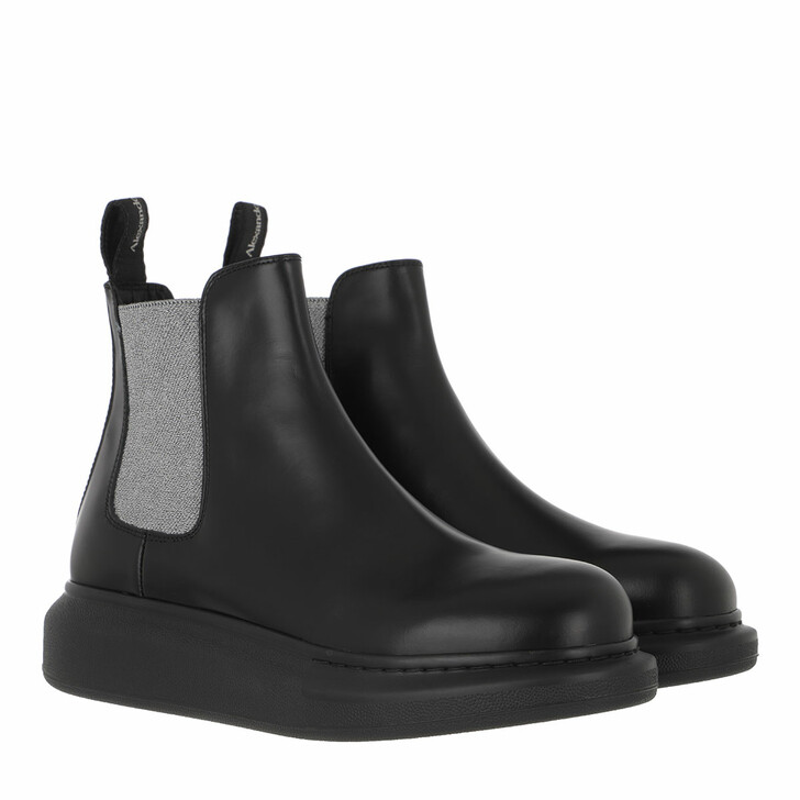 shoes, Alexander McQueen, Chelsea Boots Leather Black/Silver