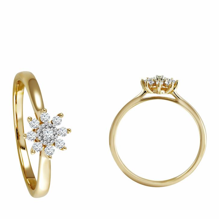 rings, diamondline, Ring 375 9 Diamonds total approx. 0,14 ct. H-si   Yellow Gold