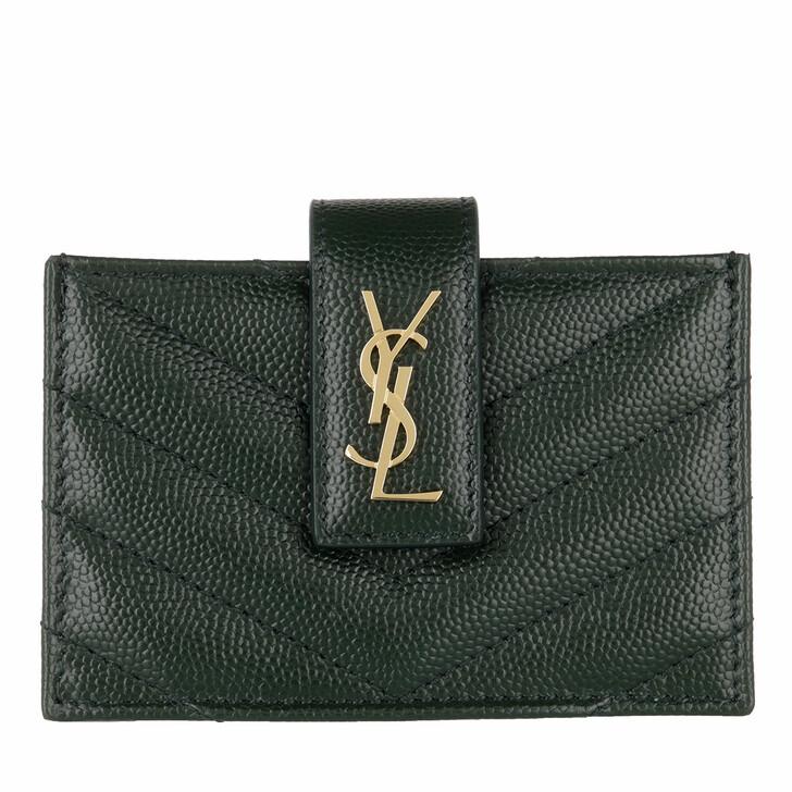wallets, Saint Laurent, Monogram Business Card Case Leather Green
