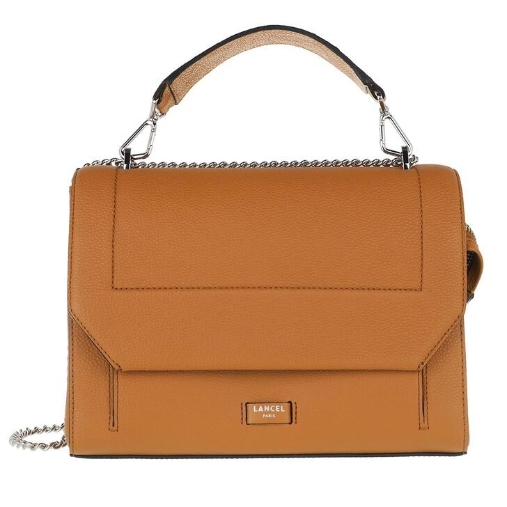 Handtasche, Lancel, Ninon Grained Leather Flap Bag Large Camel