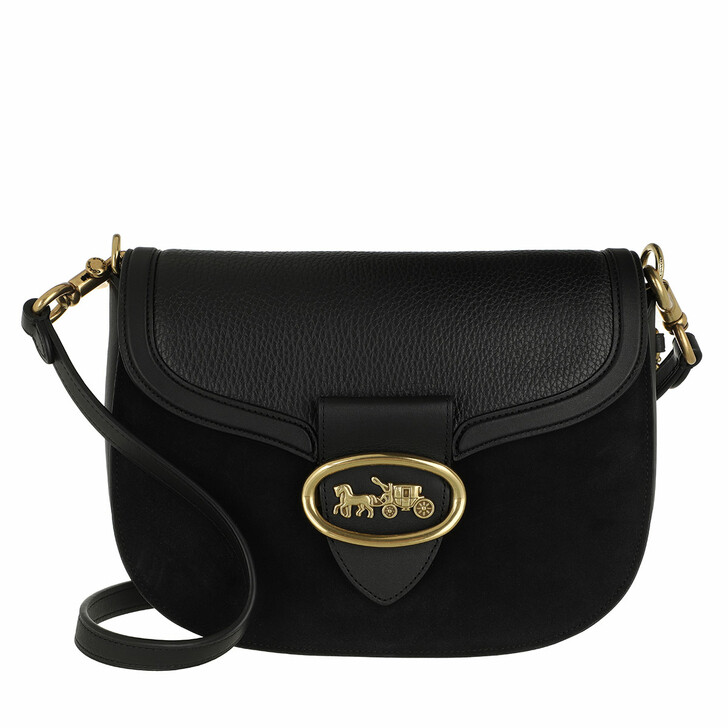 Handtasche, Coach, Mixed Leather Kat Saddle Bag Black