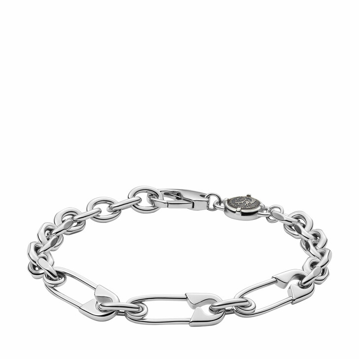 Armreif, Diesel, Stainless Steel Safety Pin Bracelet Silver