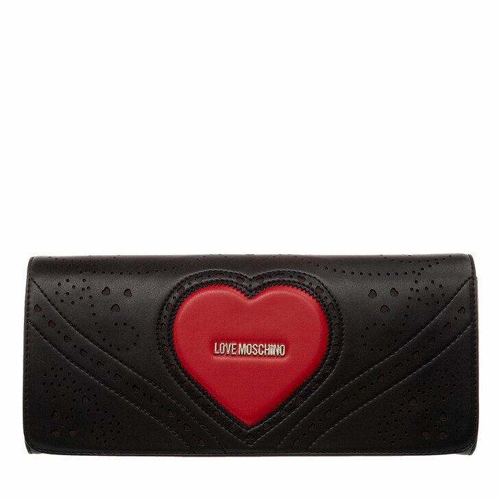 bags, Love Moschino, Clutch Black Red