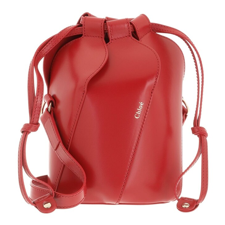 bags, Chloé, Tulip Bucket Bag Leather Red Crush