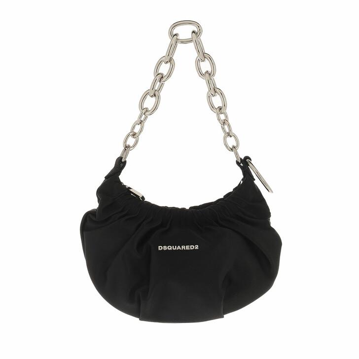 bags, Dsquared2, Mini Chain Hobo Bag Black/Palladium