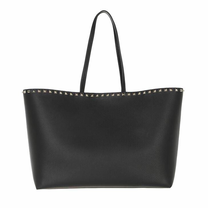 bags, Valentino Garavani, Rockstud Studded Shopping Bag Leather Black