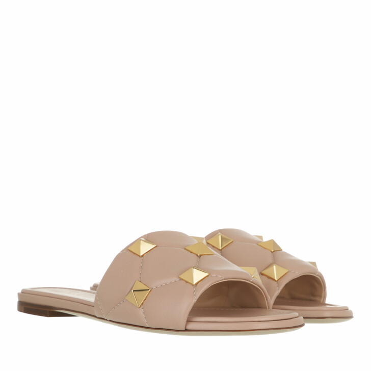 shoes, Valentino Garavani, Roman Stud Slide Mule Leather Rose