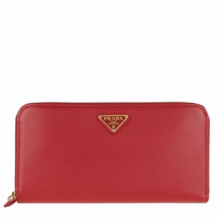Geldbörse, Prada, Classic Zip Wallet Saffiano Logo Triangolo Fuoco