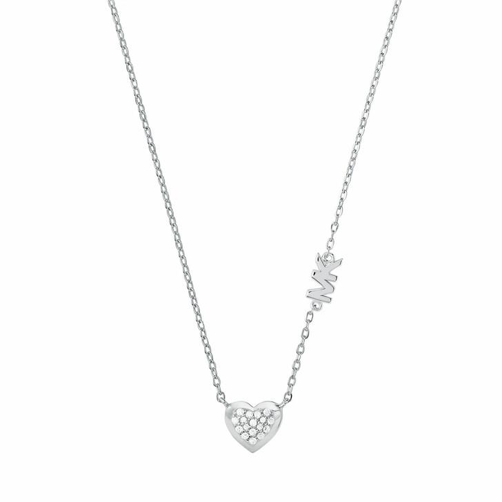 Kette, Michael Kors, Sterling Silver Pavé Heart Pendant Necklace Silver