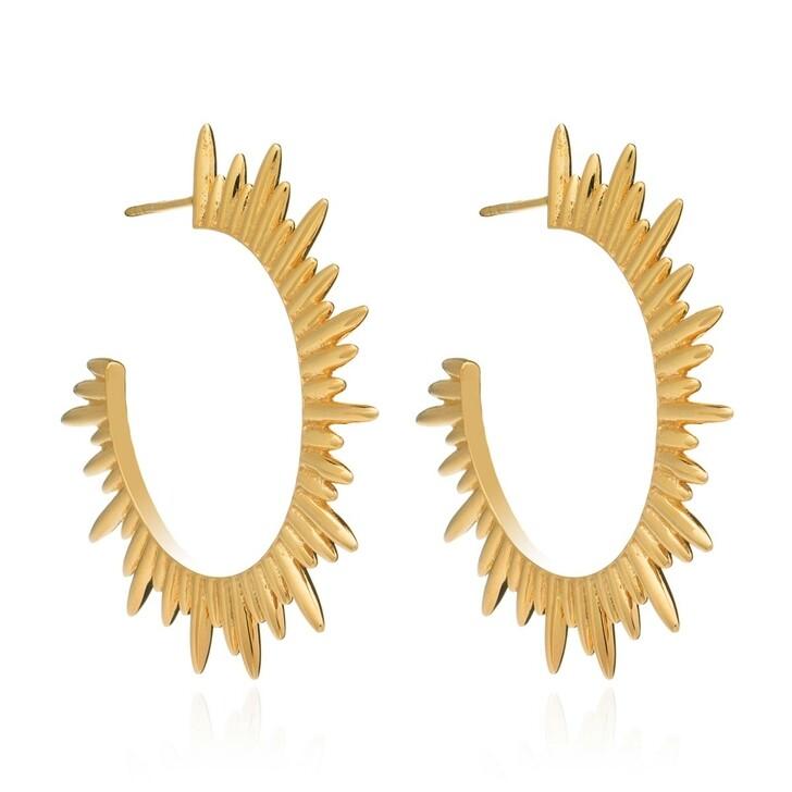 earrings, Rachel Jackson London, Statement Sunrays Hoops Gold
