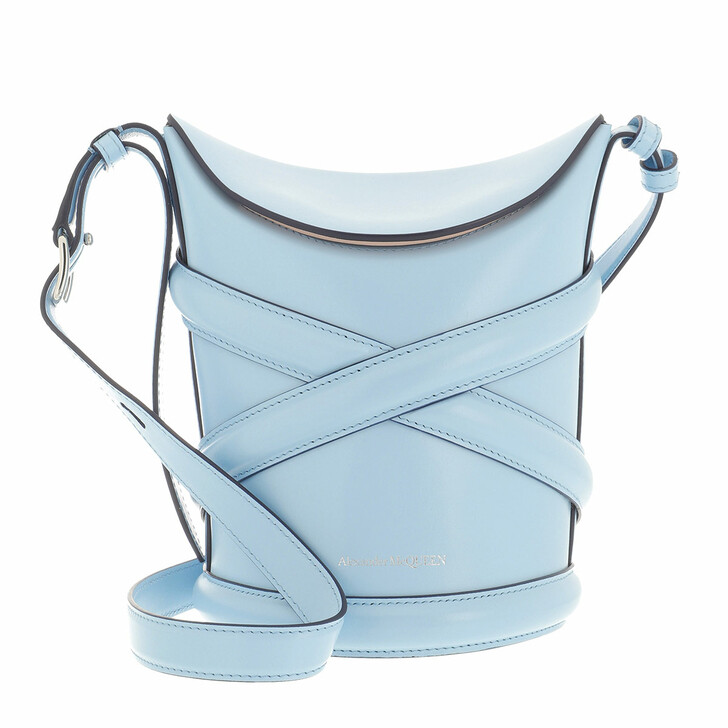bags, Alexander McQueen, The Curve Bucket Bag Leather Blue