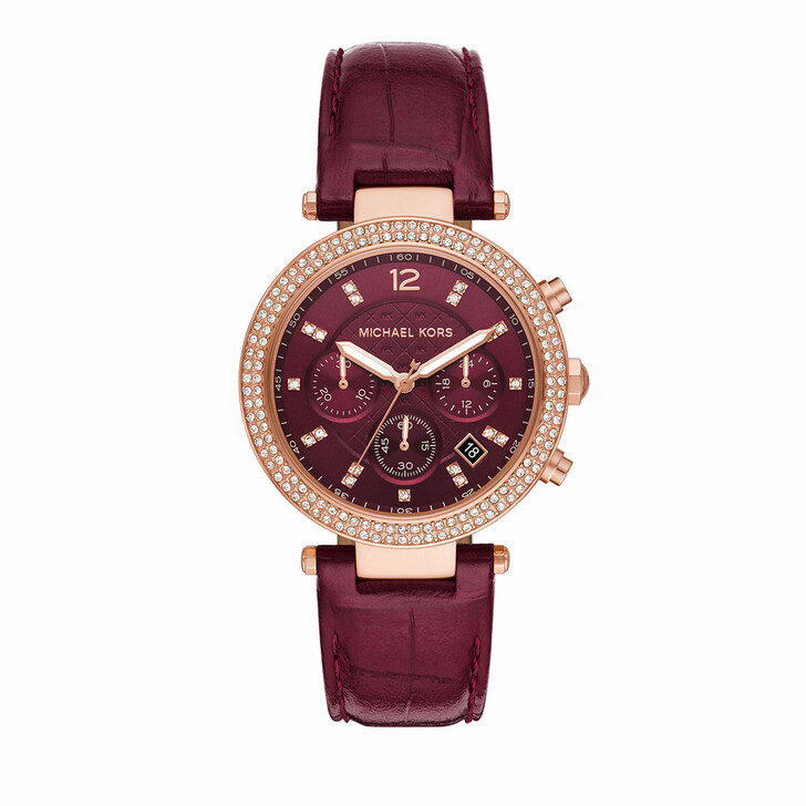 watches, Michael Kors, Women's Parker Chronograph Stainless Steel Watch M Rose Gold Red