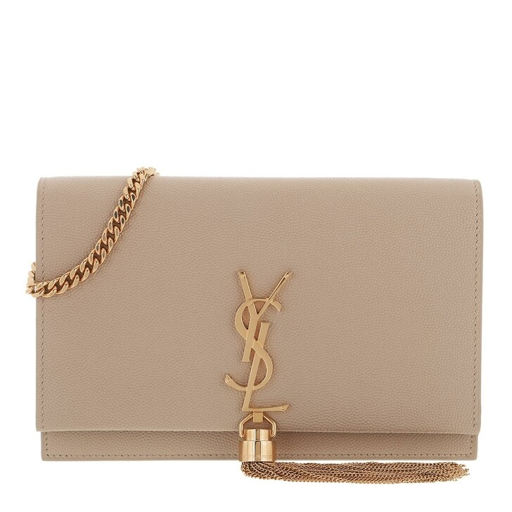 bags, Saint Laurent, Kate Monogramme Chain Clutch Dark Beige