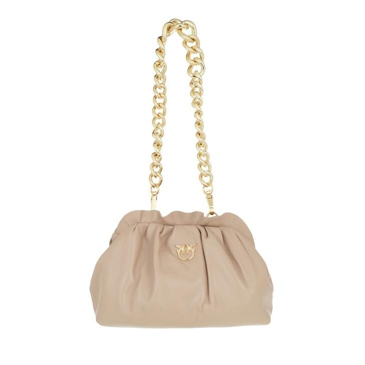 bags, Pinko, Mini Chain Clutch Framed 5 Cl  Beige Sabbia Cubana