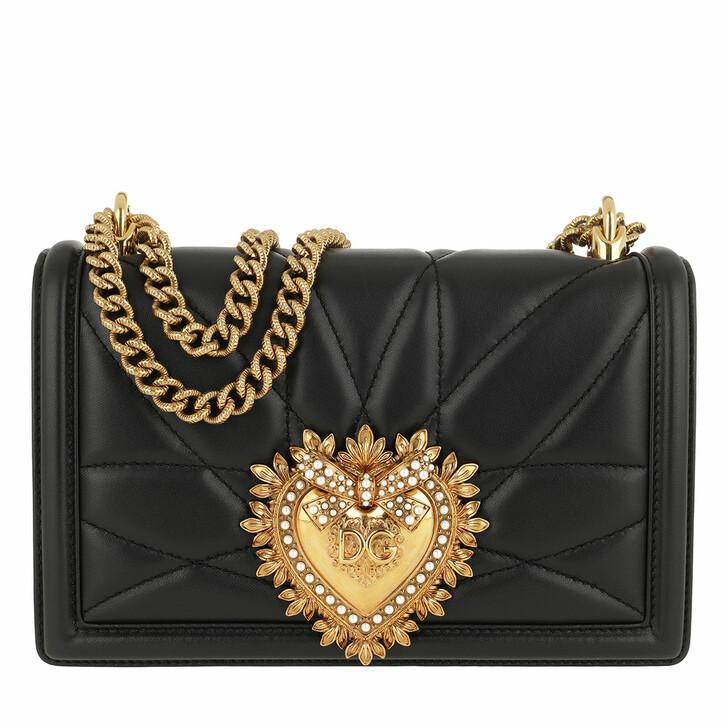 bags, Dolce&Gabbana, Devotion Bag Medium Matelassè Leather Black