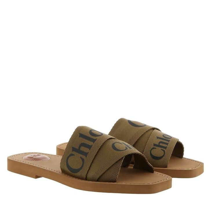 shoes, Chloé, Chloé Canvas Logo Sandals Brown