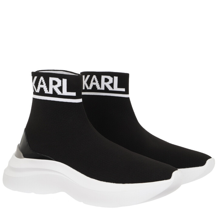 Schuh, Karl Lagerfeld, Skyline Knit Ankle Pull On Black White