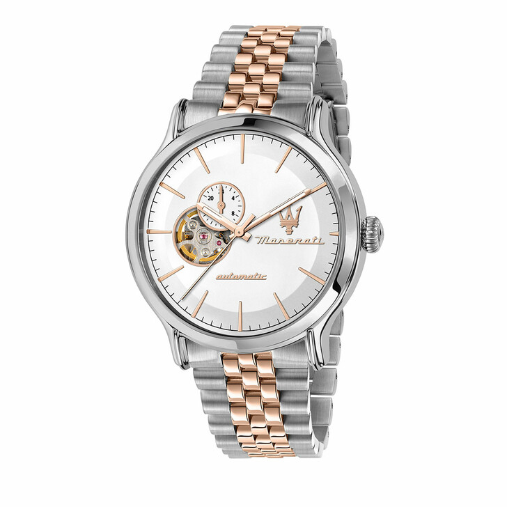 watches, Maserati, Watch Epoca 42mm Auto White and Silver/Rose Gold
