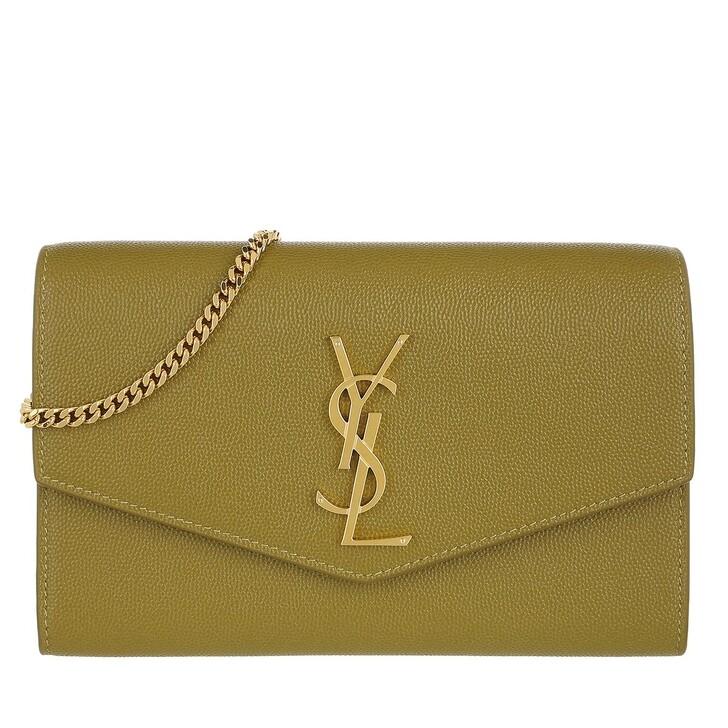 bags, Saint Laurent, Flap Chain Crossbody Bag Olive Green