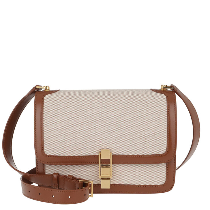 Handtasche, Saint Laurent, Carre Satchel Canvas/Leather Beige Natural