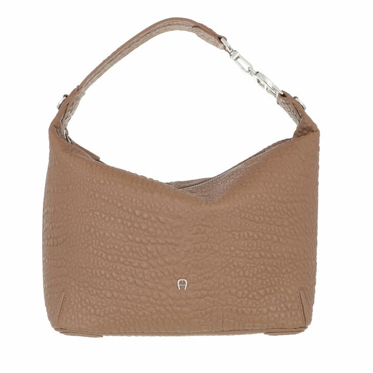 bags, AIGNER, Palermo Bucket Bag Dark Toffee Brown