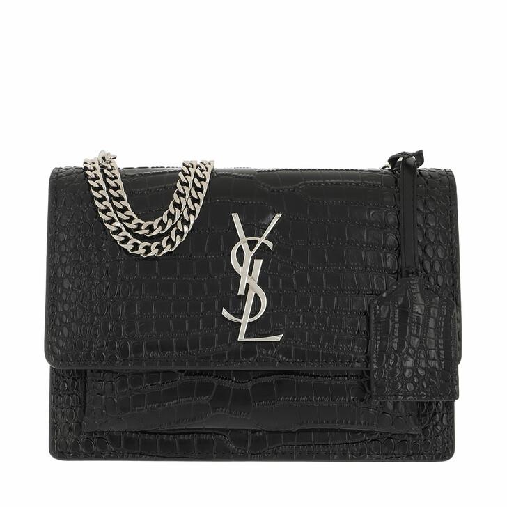bags, Saint Laurent, Monogramme Sunset Crossbody Bag Fake Crocco Medium Nero