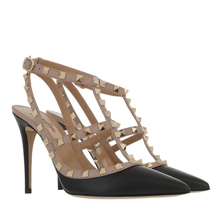 Schuh, Valentino Garavani, Rockstud Pump Ankle Strap Black Powder
