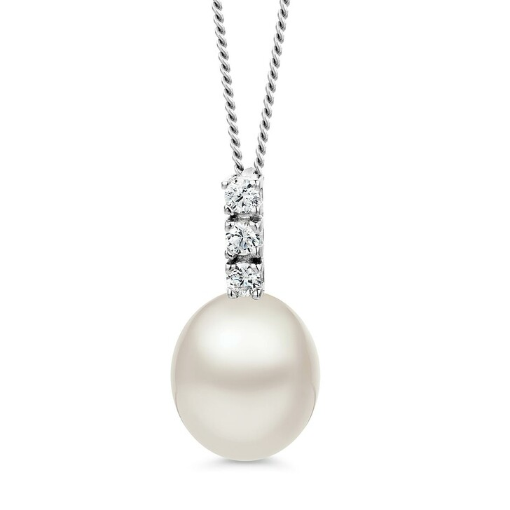 Kette, BELORO, 9KT Freshwater Pearl and Cubic Zirconia Necklace White Gold