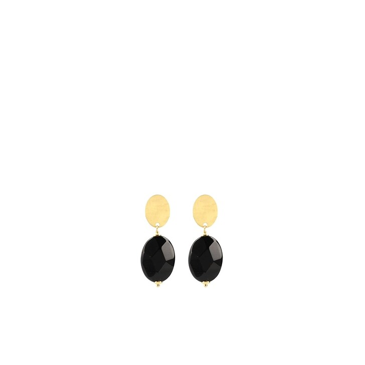 Ohrring, LOTT.gioielli, Quartz oval facet S black Gold
