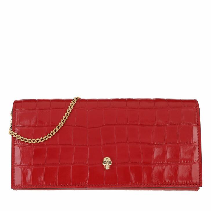 bags, Alexander McQueen, Croco Print Clutch Deep Red