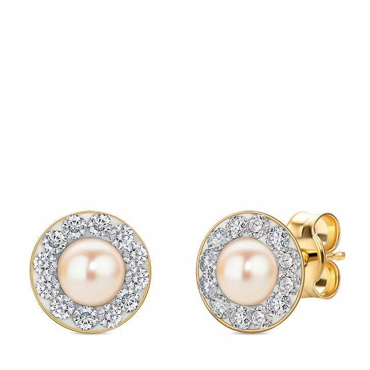 earrings, BELORO, Ladies' 9ct Pearl and Swarovski Elements Stud Earr Yellow Gold
