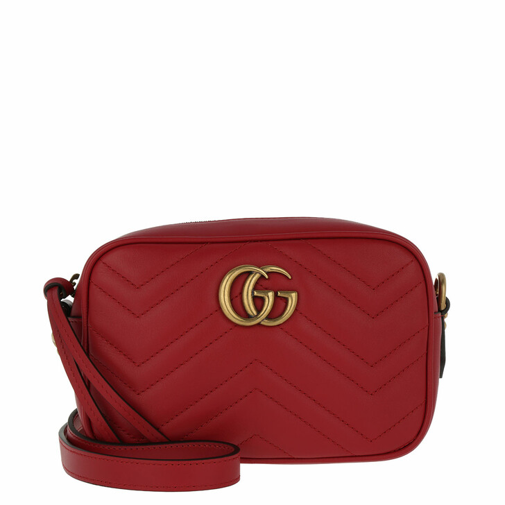 Handtasche, Gucci, GG Marmont Matelassé Mini Bag Rosso