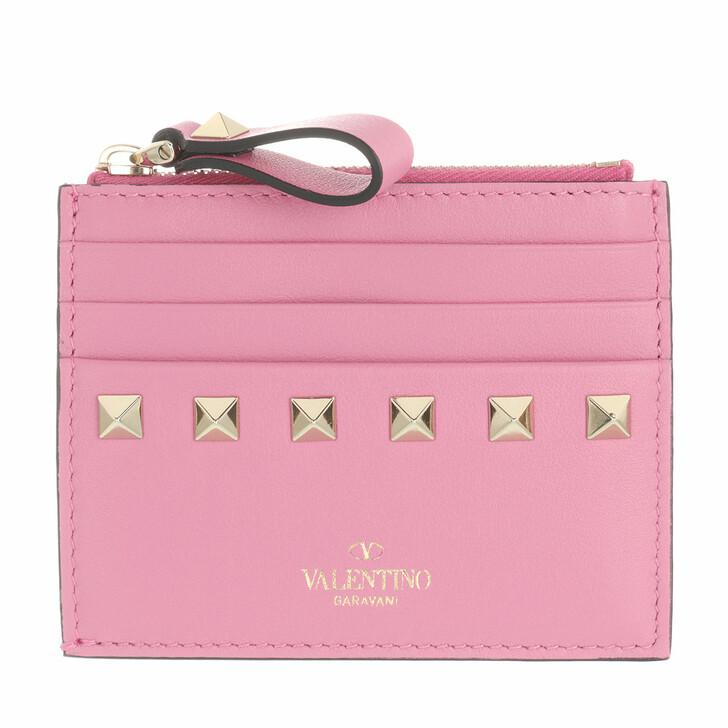wallets, Valentino Garavani, Rockstud Card Wallet Leather Dawn Pink