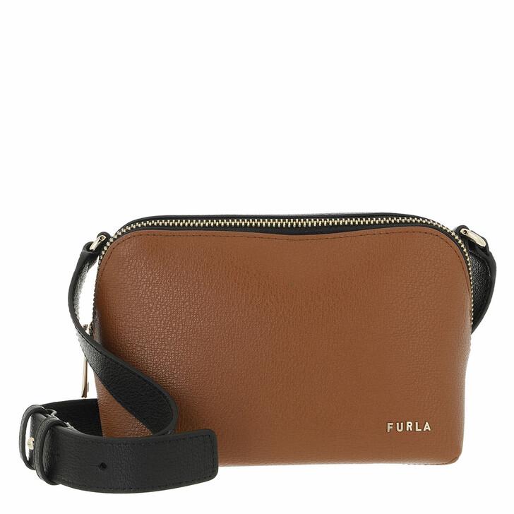 bags, Furla, Furla Amica Mini Camera Case Cognac H+Nero