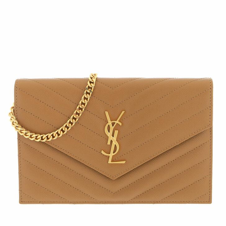 bags, Saint Laurent, Monogramme Envelope Chain Wallet Natural