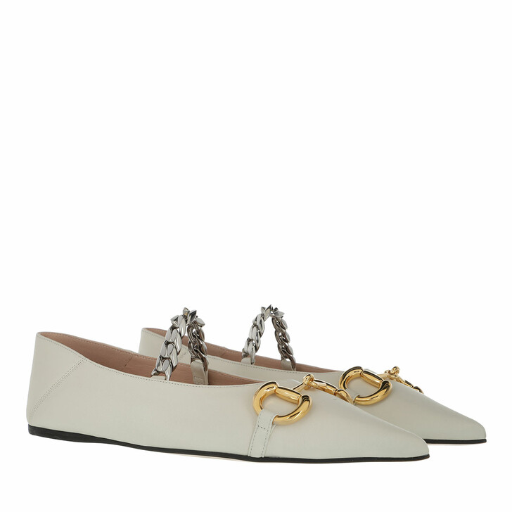 Schuh, Gucci, Deva Horsebit Ballerinas Leather White