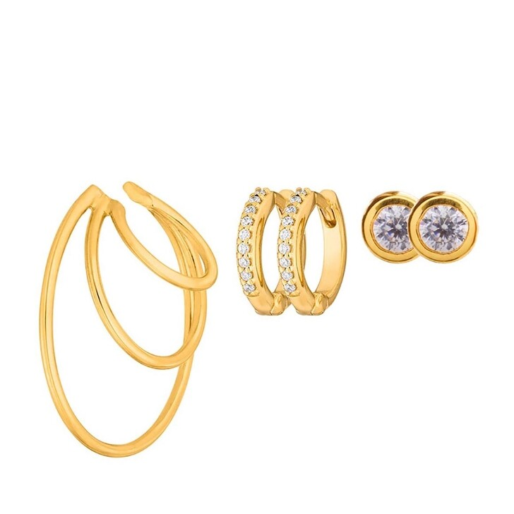earrings, Leaf, Set Earcuff Triple Earstud Pure and Mini Creole Yellow Gold