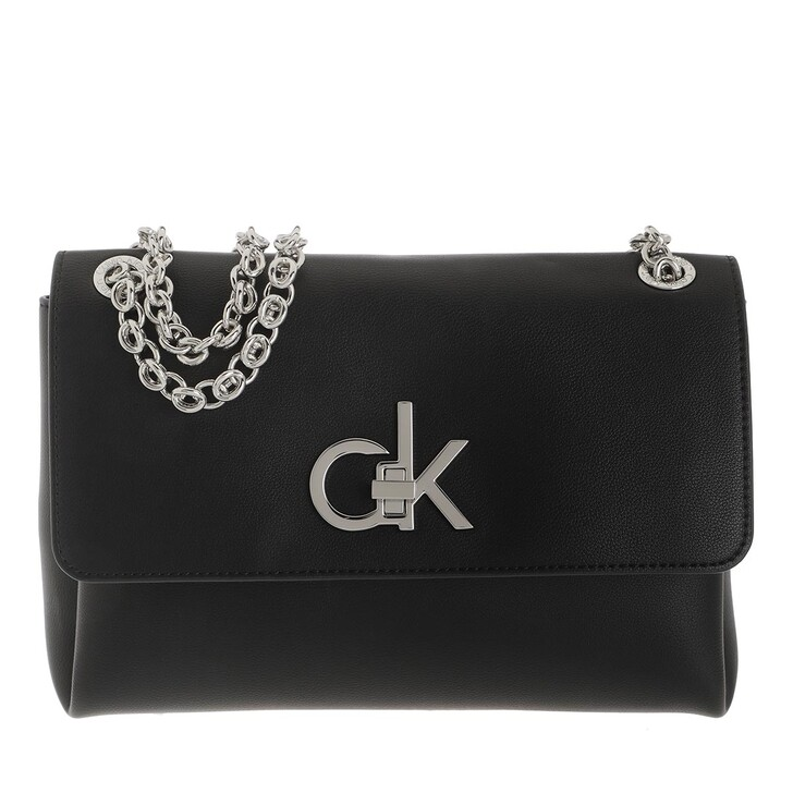 Handtasche, Calvin Klein, Convertible Flap Medium Crossbody Bag Black
