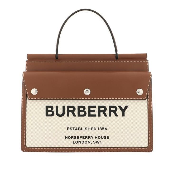 Handtasche, Burberry, Small Logo Title Shoulder Bag Leather Brown