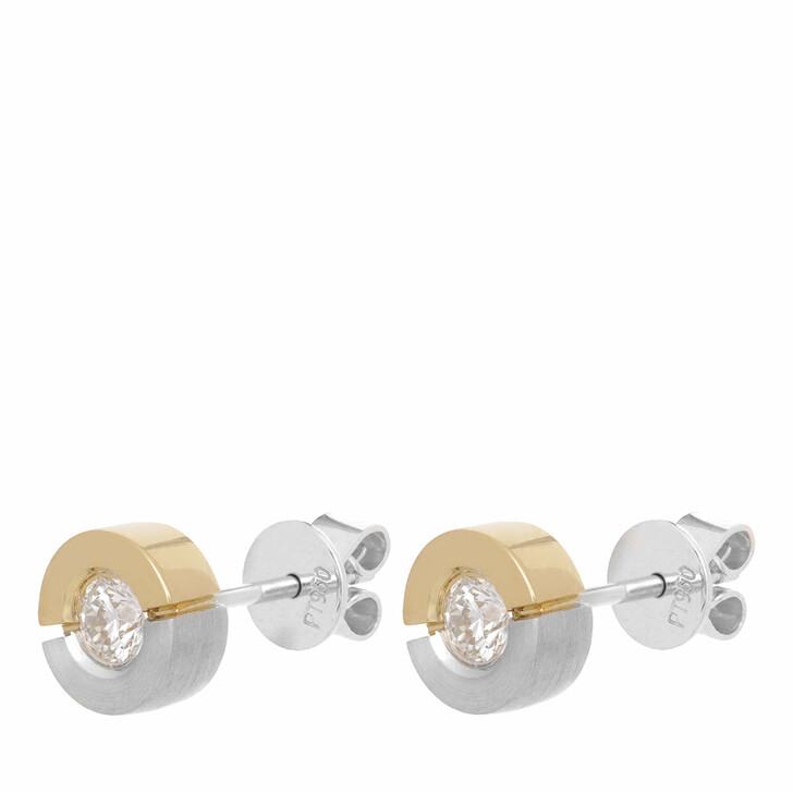 earrings, VOLARE, Earring Studs 2 Brill ca 0,30 ct. Bicolor