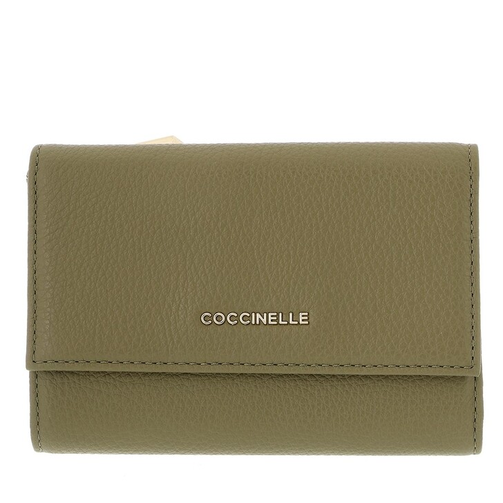 wallets, Coccinelle, Metallic Soft Wallet Grainy Leather  Moss Green
